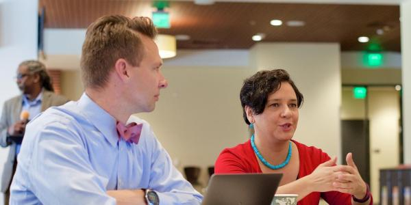 Roudy Hildreth and Manuela Sifuentes from CU Engage at professional development workshop