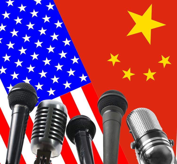 Chinese and American flags with microphones