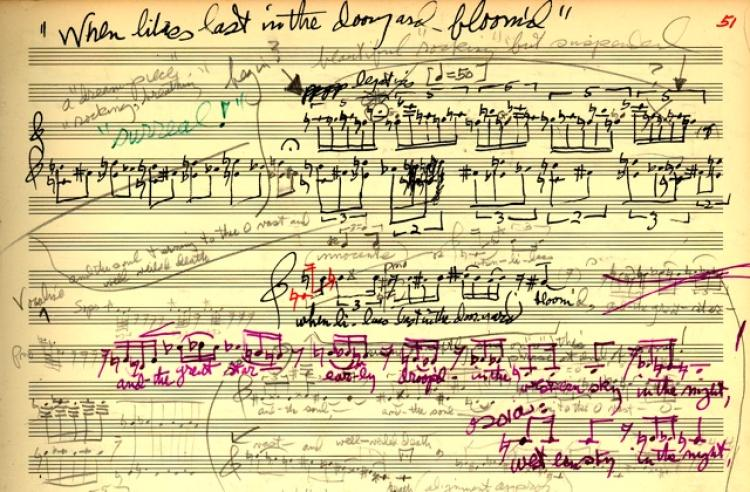 George Crumb's musical score for Apparition
