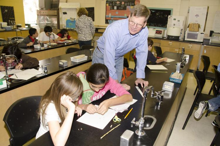 Professor Timothy Seastedt, Department Ecology and Evolutionary Biology, working with K-12 students in Trinidad, CO.