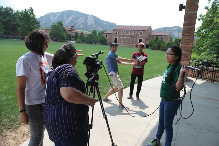 Students making a film about climate change.