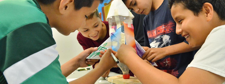 Students making rockets