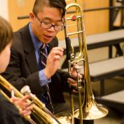CU Boulder music students teaches middle schooler as part of ensemble program