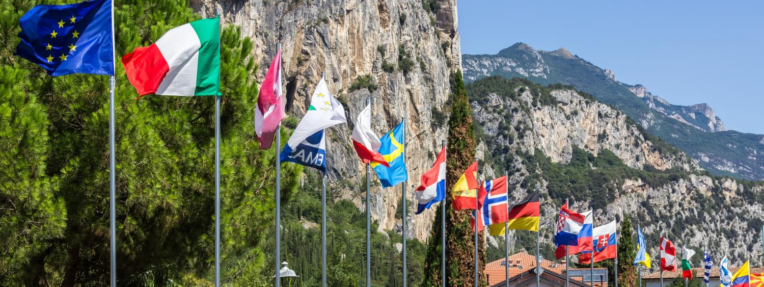 international flags outside