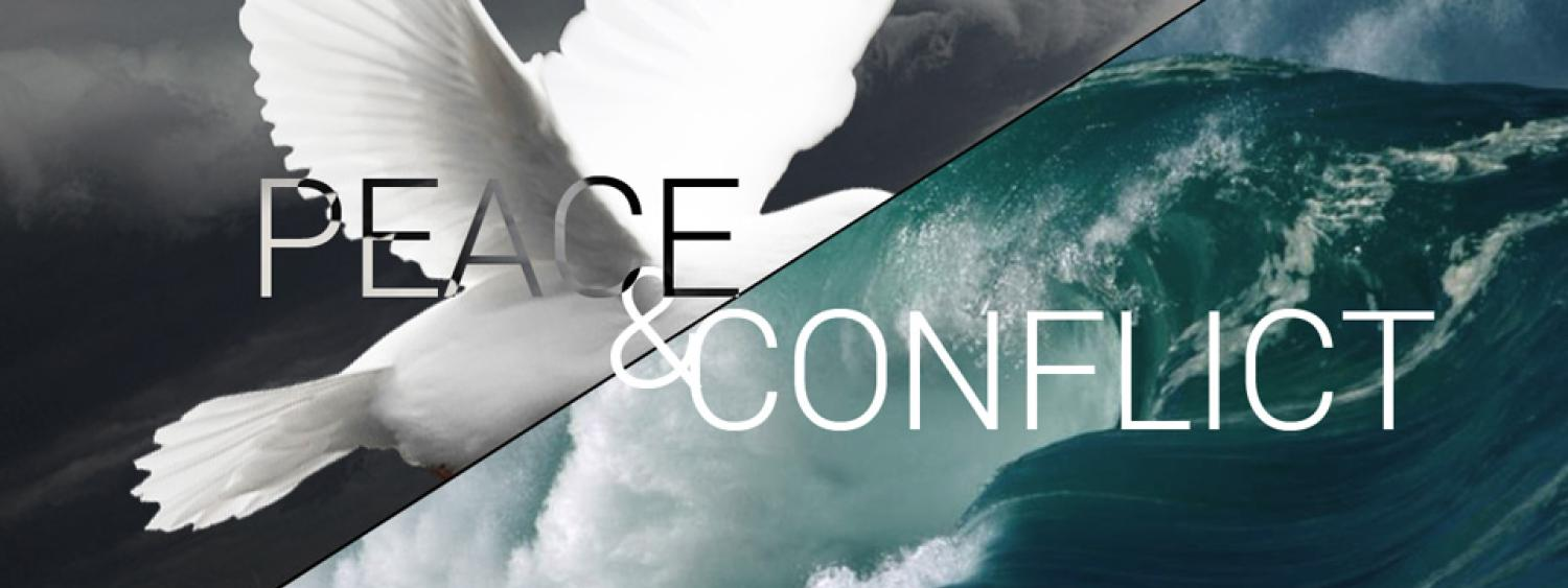 Peace + Conflict words with dove and waves images