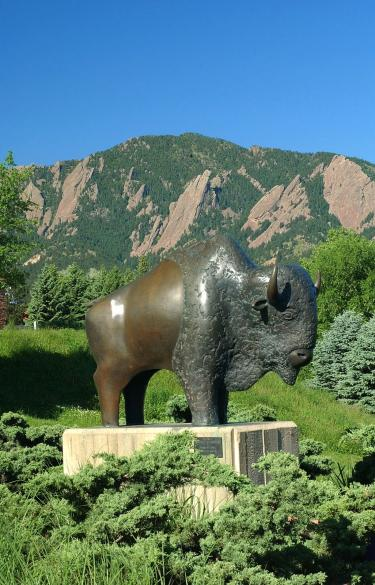 buffalo statue on campus with mountains behind it