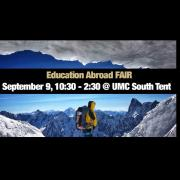 student standing in snowy landscape with text about ed abroad fair