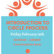 introduction to circle process and event details, orange and teal color logo