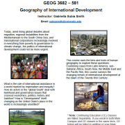 flyer for geog 3862 spring 2021 course