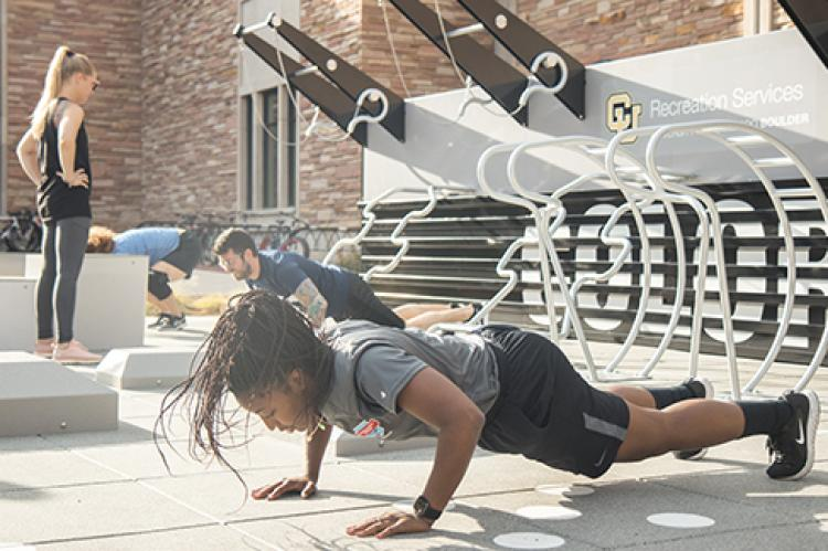 Students working out outside