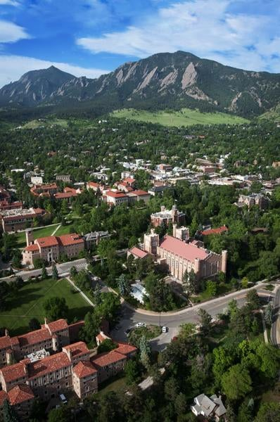Aerial view of the CU-Boulder Campus