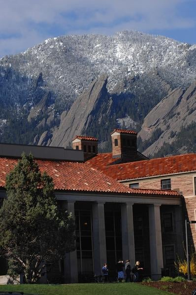 View of Flatiron Mountains from campus