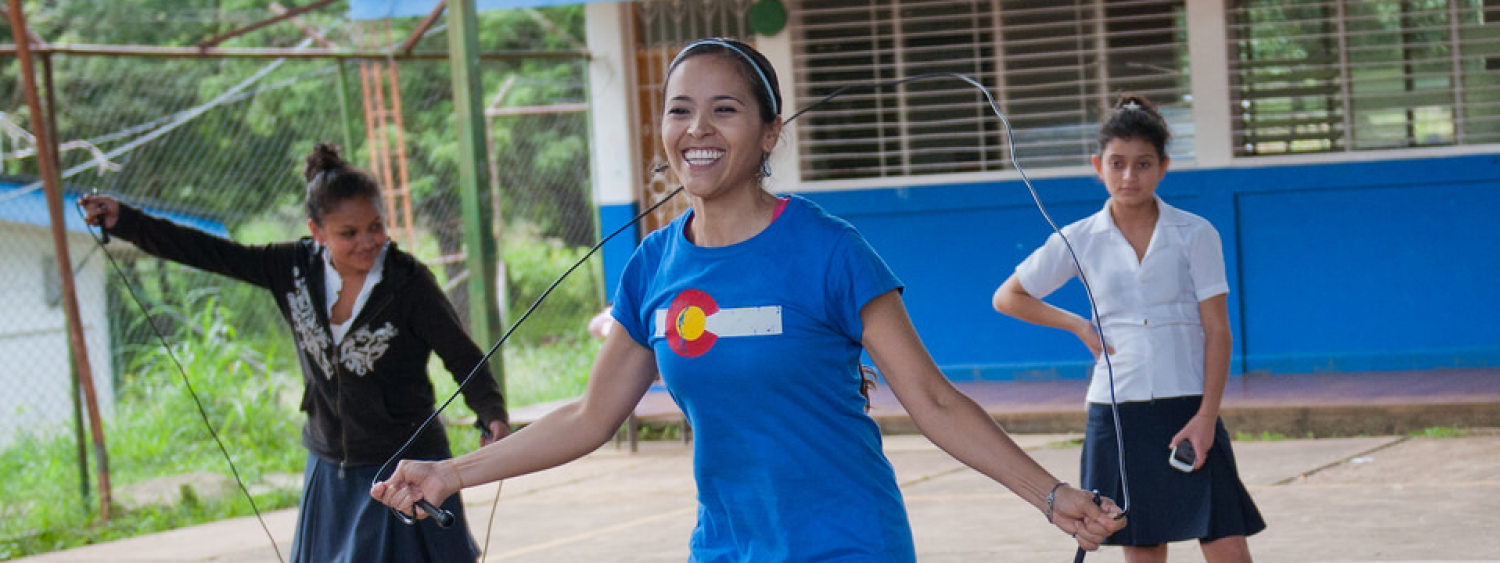 CU Peace Corps - young woman jumping rope