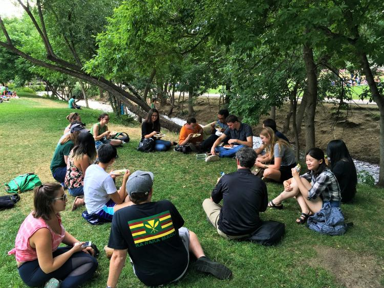 Picnic at the Boulder Farmer's Market, a short walk from the CU campus, with the 2016 summer seminar participants
