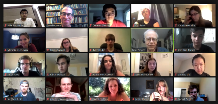 Peter Singer leads an online Zoom discussion, Summer 2020