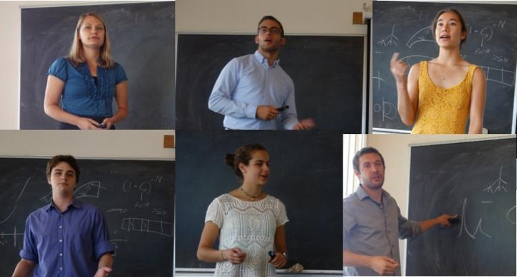 Collage of students standing in front of chalkboards