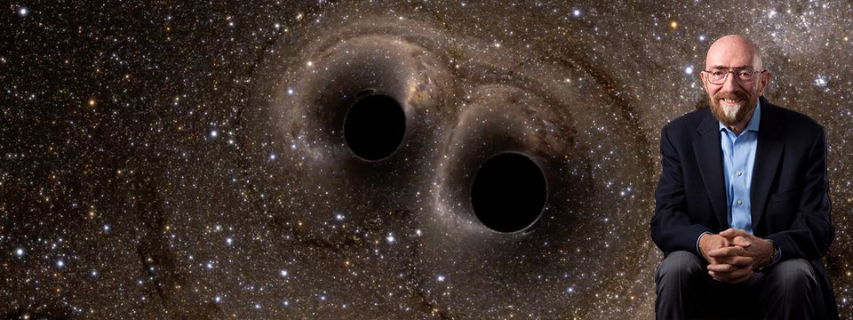 Kip Thorne in front of Colliding Black Holes