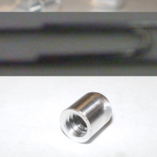 Threaded Aluminum probe tips. (size in relation to paperclip)
