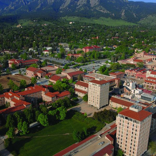 Aerial photo of the flatirons and the Duane Physical Laboratories in the foreground
