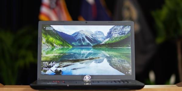 Laptop on a podium