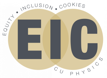 Two overlapping circles with EIC inside. Equity, Inclusion, Cookies on top. CU Physics on bottom.