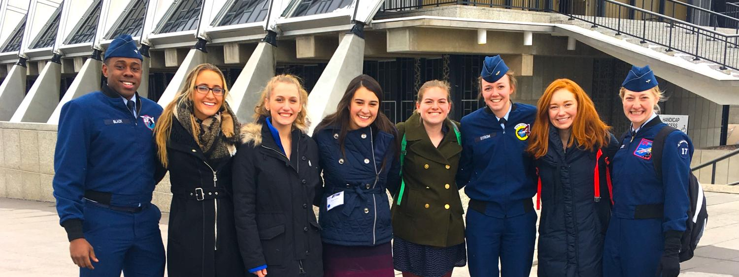 PLC students stand with cadets at the USAFA 2017 National Character & Leadership Symposium