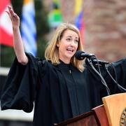 Kelly Graziadei speaking at the 2016 graduation ceremony.