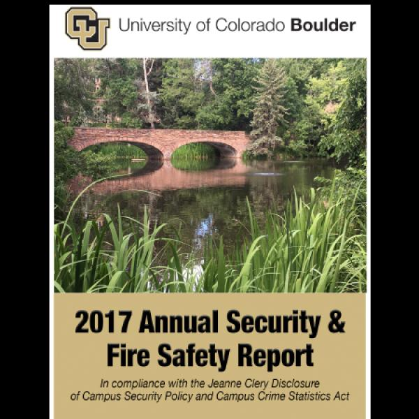 The cover of the Annual Security Report featuring Varsity Pond and Bridge