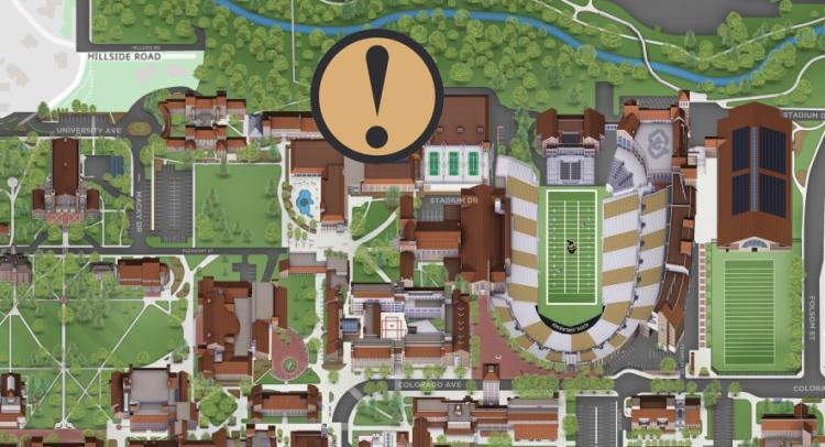 Campus map showing the location of the Rec Center