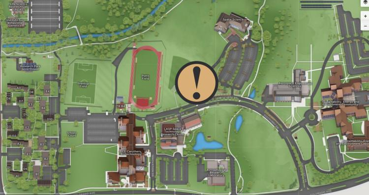 A map showing the general location of the crime near the Space Science building