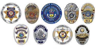 The logos for the law enforcement agencies in Boulder County
