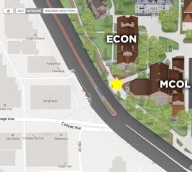 The CU Boulder campus map showing the area near Broadway and College Avenue when the crime occurred.