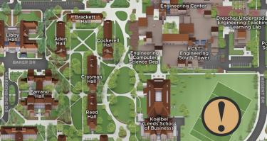 The campus map showing the location of Business Field.