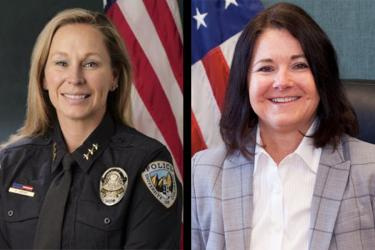 Side by side photos of CUPD Chief Doreen Jokerst and BPD Chief Maris Herold.