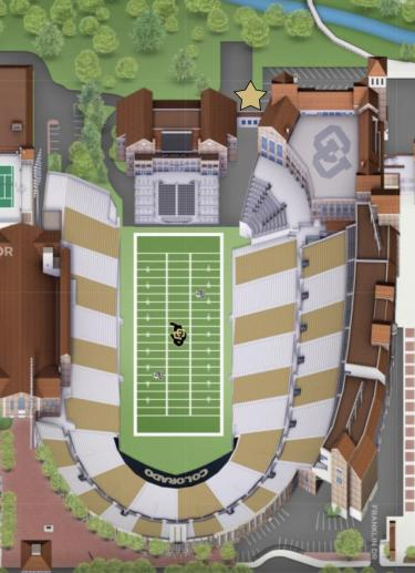 A map showing Folsom Field where the incident took place