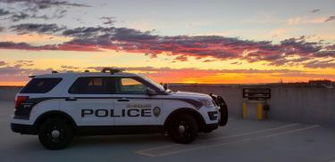 CUPD police car at sunrise