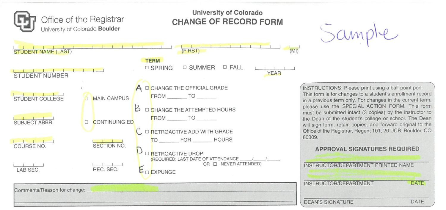 change of record form political science university of colorado