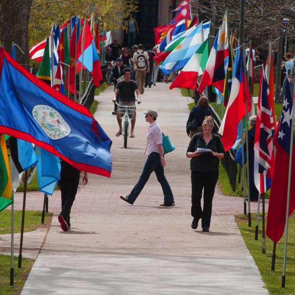 Sidewalk with flags of the nations on each side