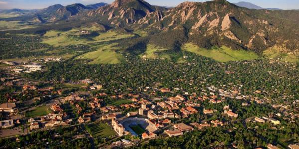 Birds eye view of the CU Boulder campus