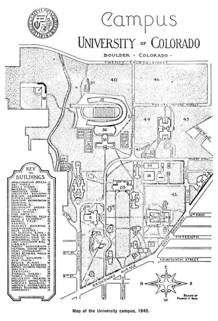CU Campus Map, circa 1940
