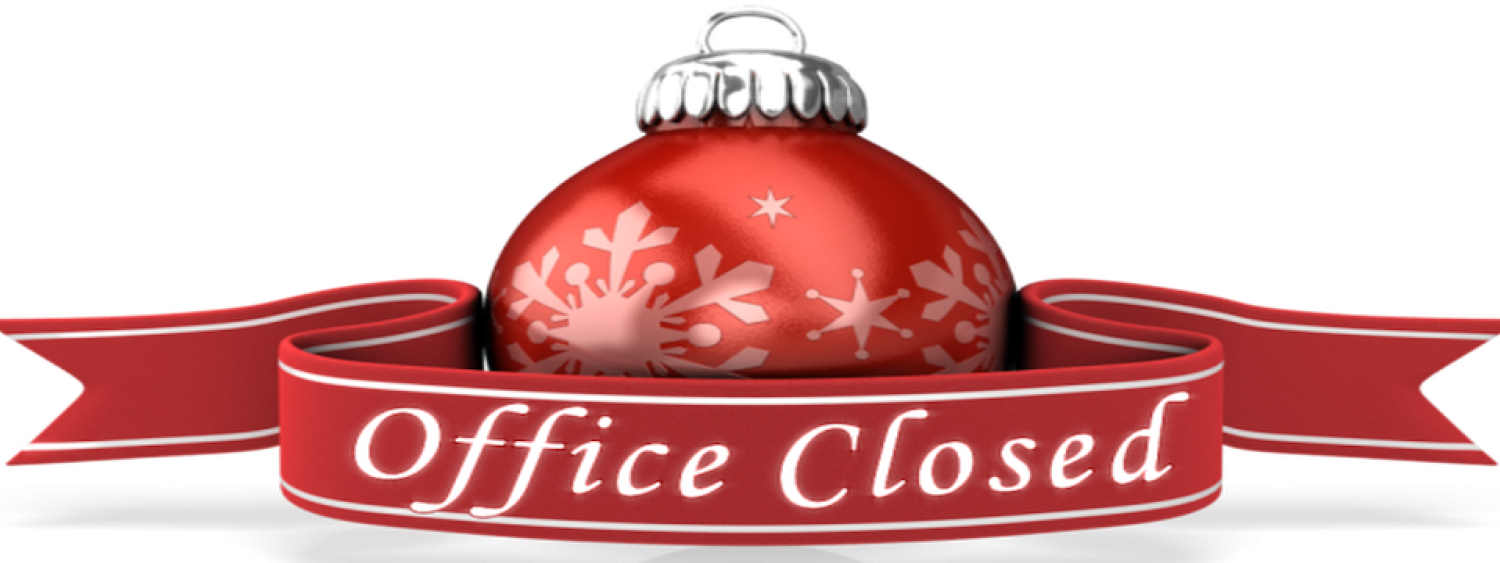 "Red Christmas ornament with ribbon that reads, ""office closed"""