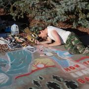 UROP Sidewalk Symposium - student completing chalk piece