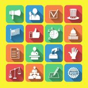 Collage of election-related icons