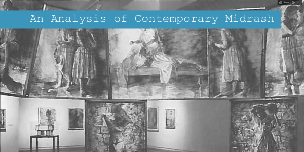 """Screenshot of Kelly Walsh's website; """"An Analysis of Contemporary Midrash"""" overlays an image of art displayed in a museum"""