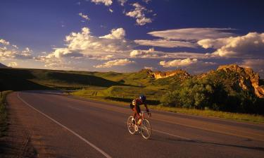 Road cyclist on scenic road
