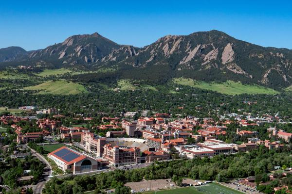 an aerial view of the CU Boulder campus and flatirons