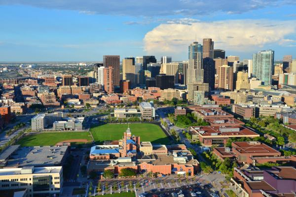 an aerial view of the CU Denver Auraria campus in downtown Denver