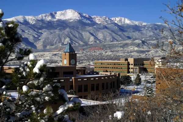 A view of the UCCS campus with Pikes Peak in the background
