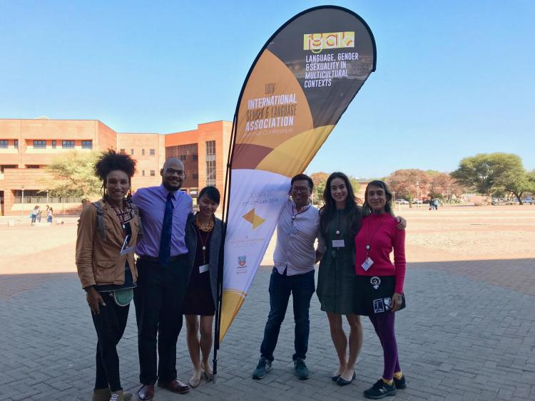 CLASP students Djankow Matthew, Khalil B. Thomas, Chu Paing, Andrew Ting, Olivia Hirschey, and Mabia Camargo at IGALA10 in Botswana
