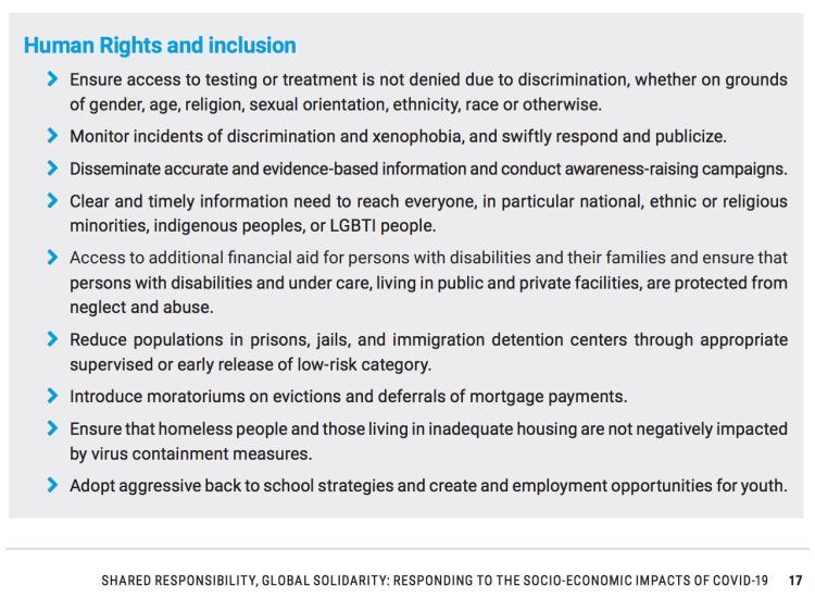 UN COVID-19 Socio-Economic Response - Human Rights & Inclusion